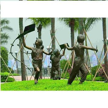 放风筝的小孩|城市广场雕塑定制工程|佛山市铜心源
