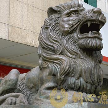 广发银行门口铜狮|汇丰狮