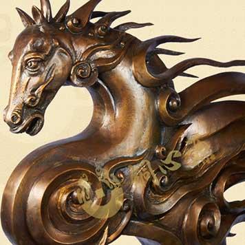 动物瑞兽雕塑-龙马精神