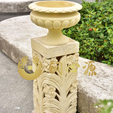 花盆及浮雕底座砂岩雕塑