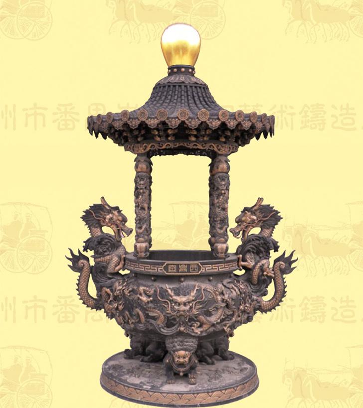 (精品)单层盖顶圆香炉B,口径0.98米,高2.5米