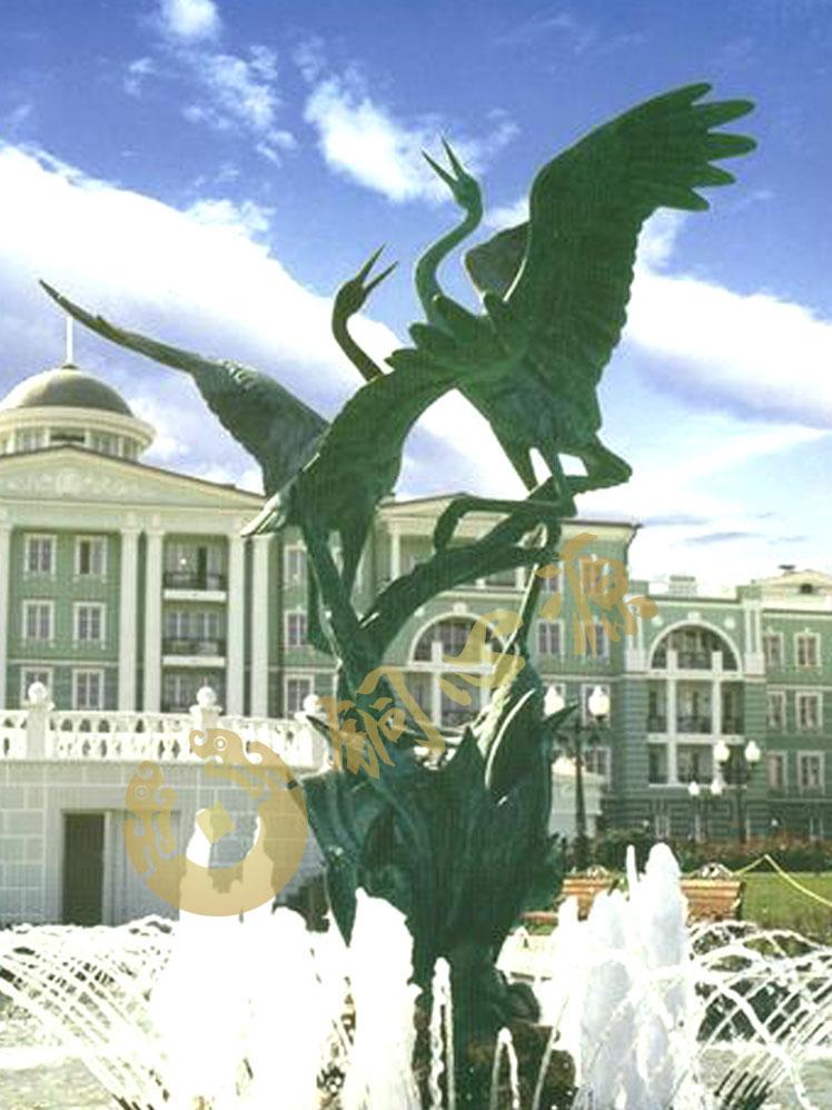 俄罗斯《铜鹤》动物铜雕塑|广场雕塑|小区雕塑
