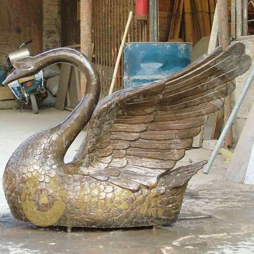 动物瑞兽雕塑-铜天鹅