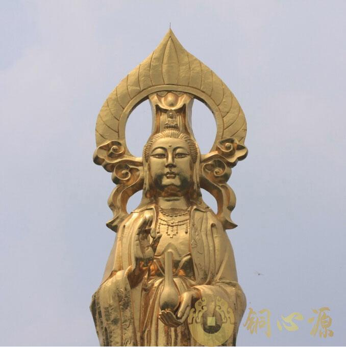 世界最高贴金观音立像:莲花山36.8米观音