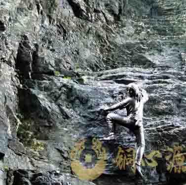 张家界天门山蜘蛛人铜雕 高2米