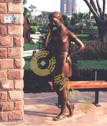 广州富力半岛人物铜雕|小区雕塑|园林雕塑|花园雕