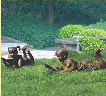 看书的小孩铜雕|广场雕塑|公园景观雕塑