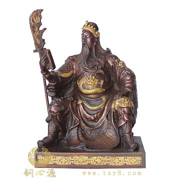 各种姿势关公铜像