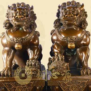 动物瑞兽雕塑-铜狮子