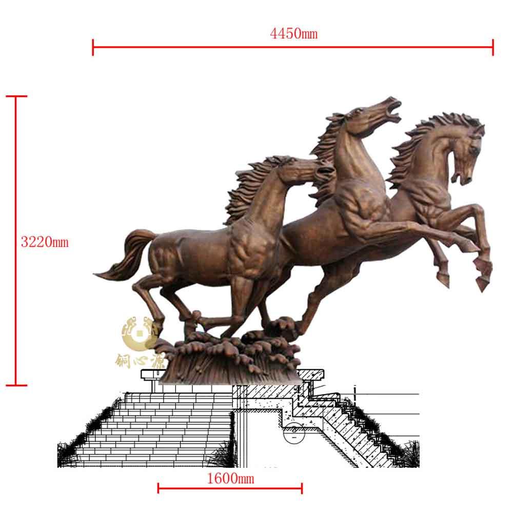 非洲乍得酒店高3.2米《三马奔腾》雕塑工程