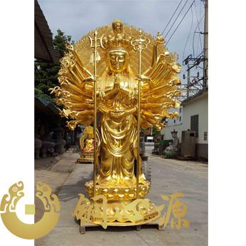 海南高三米贴金千手千面观音菩萨雕塑铜像