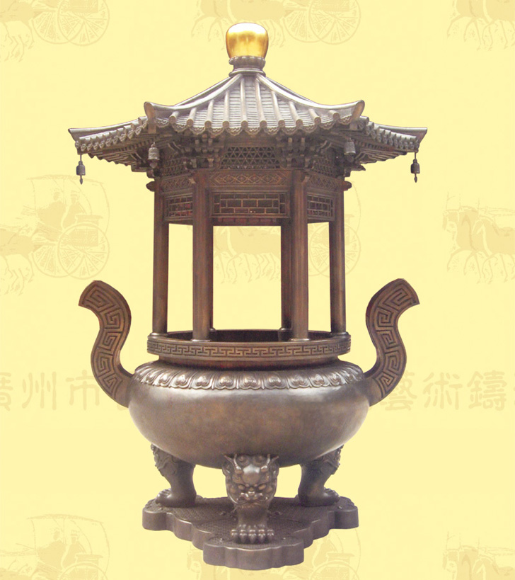 (精品)单层盖顶圆香炉A,口径1.08米,高2.8米